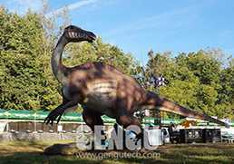 How is the Animated Dinosaur Exhibition Arranged in the Park?